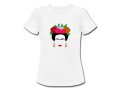 Frida Kalho t-shirt multikleur bloem wit